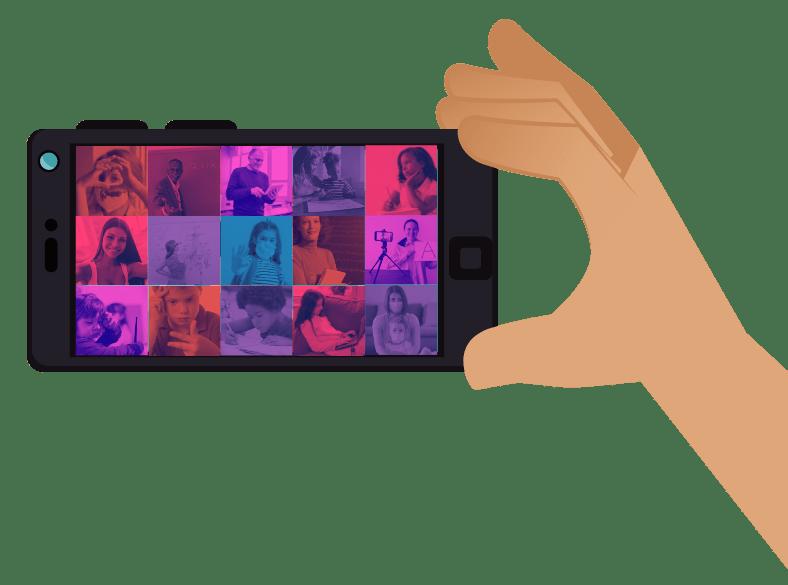 Desenho de mão bege segurando um celular preto na horizontal. A tela tem 15 quadrados vermelhos, rosas, azuis, roxos, com fotos de pessoas em ambientes de estudo e pesquisa. Algumas usam máscaras. Fim da audiodescrição.